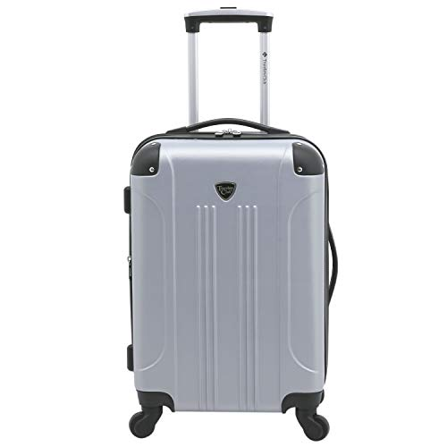 Travelers Club Chicago Hardside Expandable Spinner Luggage, Silver, Checked-Medium 24-Inch