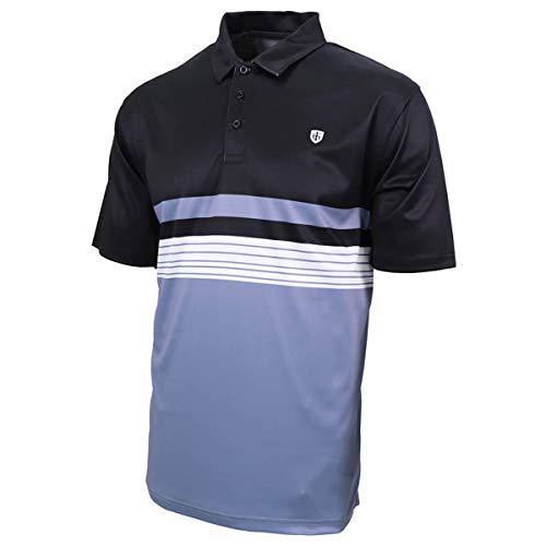 Island Green Polo de Golf Respirant pour Homme Motif Poitrine Noir/Bleu Cosmique Taille M