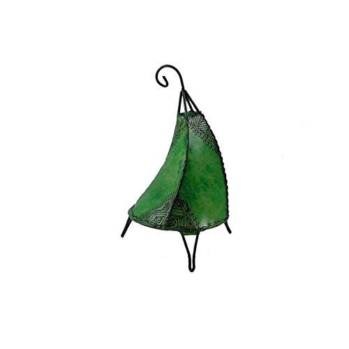 Orientalische Lampe Stehlampe marokkanische Hennalampe Lederlampe Tischleuchte Stehleuchte Orient Tissir Orient 40 cm Color Grün