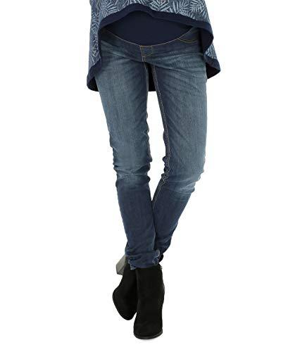 NITIS Schwangerschaftshose Maternity Jeans Zuza Umstandshose Damen Hose Straight, Denim Blue, XL (Herstellergröße: 42/32L)
