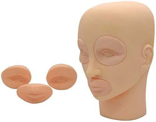 Mannequins de couture reglable Perruque, Silicone tête Plate Tattoo Mannequin Yeux Bouche Pratique Maquillage Cils Formation Porte vêtement Mannequin (Size : 1)