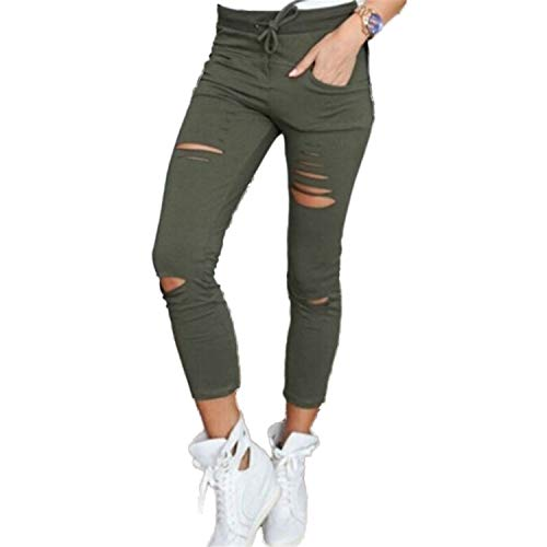 Kneris Pantaloni Donna Strappati Elasticizzati Jeans Vita Alta Casual Jeggings Casual
