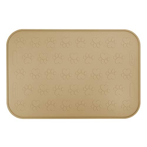SmithBuilt 24' x 16' Large Dog Food Mat - Waterproof Non-Slip FDA-Grade Silicone Cat Pet Bowl Feeding Placemat - Tan