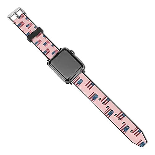 La última correa de reloj compatible con Apple Watch Band 38 mm 40 mm Correa de repuesto para iWatch Series 5/4/3/2/1, bandera americana Usa Merica diseño patriótico del 4 de julio, rosa