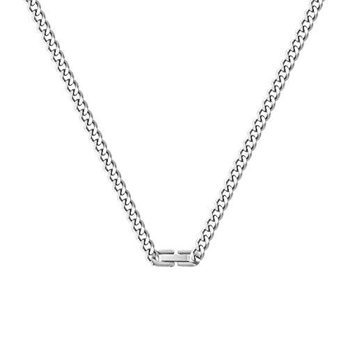 Necklace,Necklace,Women Simple Necklace Men's Neck Chain Hip Hop Couple Clavicle Chain Friend Gift (Silver+55CM)