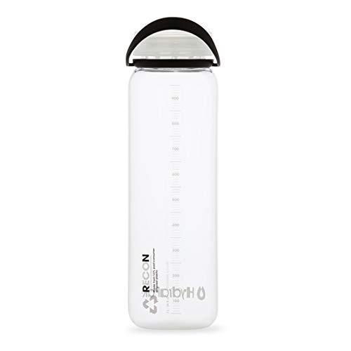 Hydrapak RECON - Botella de agua de plástico reciclado, respetuosa con el medio ambiente y libre de BPA, tapa de flujo suave, fácil de transportar (1 L, transparente/negro y blanco)
