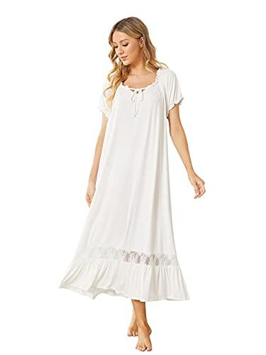 SUNNYME Damen Vintage Nachthemd Kurzarm Spitze Viktorianisches Nachthemd Lang Schlafkleid Modal Nachthemd Loungekleider Weiß L