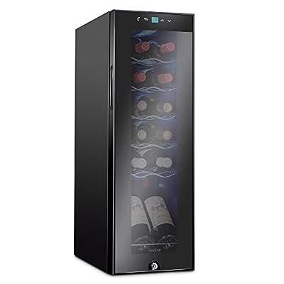 Ivation 12 Bottle Compressor Wine Cooler Refrigerator w/Lock | Large Freestanding Wine Cellar For Red, White, Champagne or Sparkling Wine | 41f-64f Digital Temperature Control Fridge Glass Door Black
