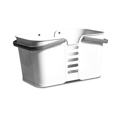 Fine Portable Bath Laundry Basket, Bathroom Toiletries Storage Box Holder Organizer,Storage Basket with Easy Carry Handle (White)
