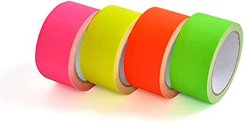 Eventlights 4X UV Neon Klebeband - 50 mm x 10 m - Neontape - Gaffa - Gewebeband - Panzertape - Duct Tape - Schwarzlicht - UV aktiv, fluoreszierend