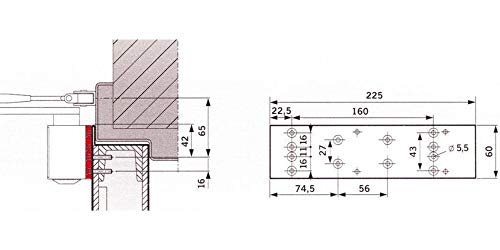 Dormakaba Montageplatte DORMA für TS 73 V, Silber ; 1 Stück