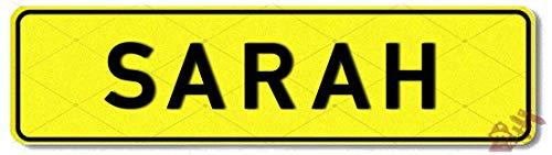Geprägtes Namensschild zum Selbstgestalten ✓ Witterungsbeständig ✓ Vielfarbig ✓ Ideale Geschenkidee | Individuelles Nummernschild, Aluminium-Schild | Autoschild mit Namen & Spruch selbst gestalten