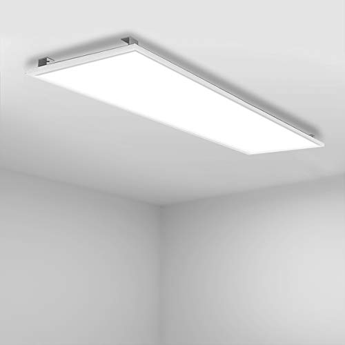 Vkele LED Panel 120x30cm Neutralweiß 4000K 48W 5000 Lumen Weißrahmen Led Panel Deckenleuchte, LED-Lampe, Deckenlampe, Büroleuchten mit Winkel-Anbauset für Schlafzimmer, Esszimmer, Wohnzimmer