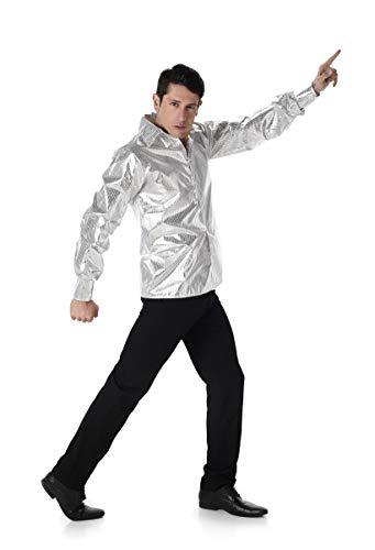 Karnival kostuums 82120 genaaid disco shirt kostuum, mannen, zilver, groot