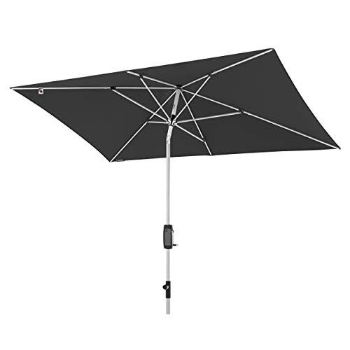 Knirps Sonnenschirm Automatic - Rechteckiger Kurbelschirm - Modernes Design - Starker UV-Schutz - 260x165 cm - Dunkelgrau