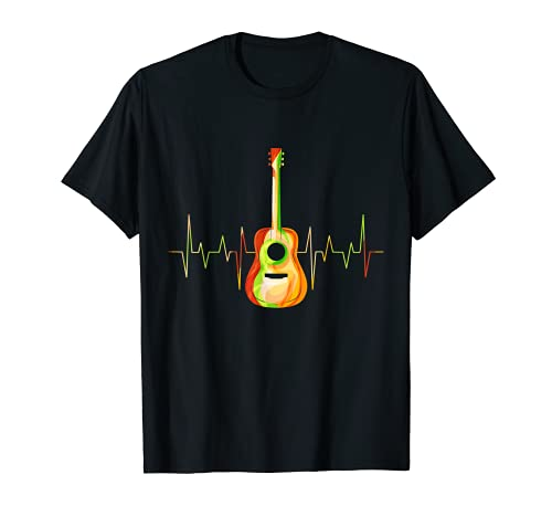 Heartbeat Vintage Retro Guitarra acústica Camiseta