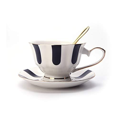 Koffieservies keramiek koffiemok retro zwart-wit theekop met schoteltje lepel hometrainer dagelijks gebruik party restaurant hotel afternoon thea beste cadeau A