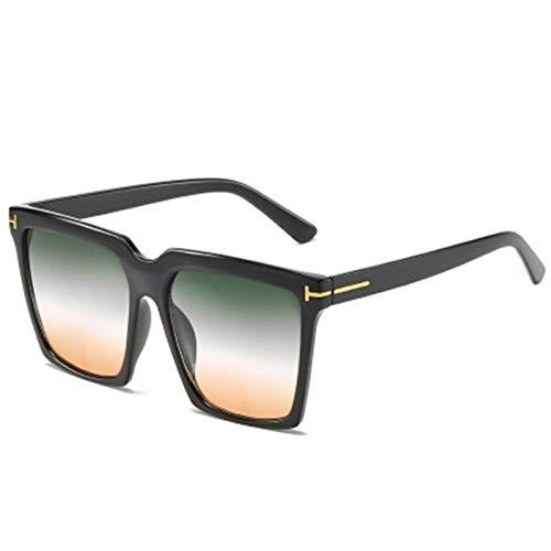 FDNFG Gafas de Sol cuadradas de Gran tamaño Mujeres Vintage Marco Grande Gafas de Sol Mujer Degradado Negro Gafas Femeninas UV400 Gafas de Sol (Lenses Color : Black Green Yellow)