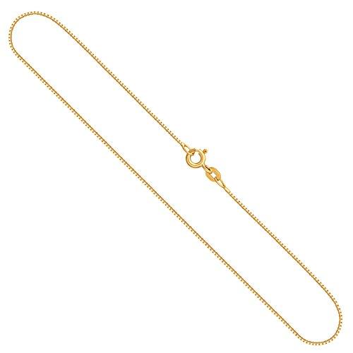 Elegante dameshalsketting 0,7 mm, Venetiaanse ketting 750, 585, 375, 333 geelgoud, echt gouden ketting met stempel, gouden ketting met veerringsluiting, Made in Germany