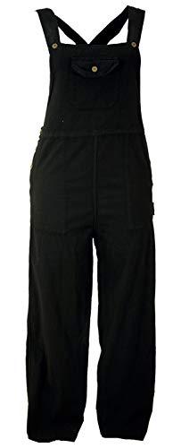 Guru-Shop Latzhose, Ethno Style, Boho Hose, Damen, Schwarz, Baumwolle, Size:M (38), Lange Hosen Alternative Bekleidung