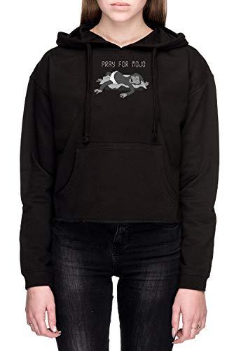 Pray For Mojo Mujer Sudadera con Capucha De Crop Negro Todos Los Tamaños - Women's Crop Sweatshirt Hoodie Black