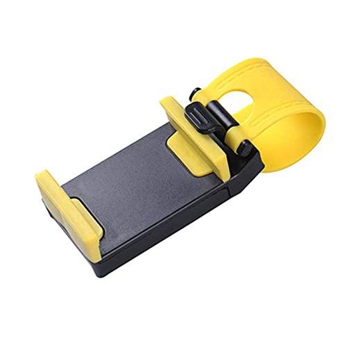 ZYZY Soporte universal del teléfono del coche del soporte del volante de la bicicleta Clip de montaje de goma para el iPhone para el teléfono móvil de Samsung-amarillo