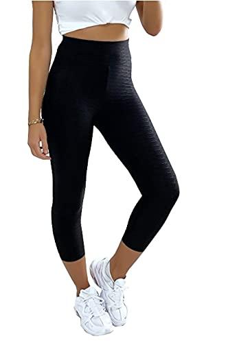 Leggings da donna a compressione Push Up Anti-Cellulite Slim Fit Sport Pantaloni a 3/4 Yoga Fitness Muscolare Gym Nero S-M