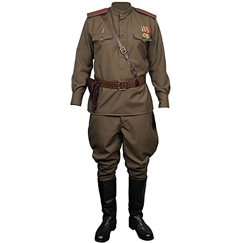 """Soviet Army RKKA Troops Uniform Vintage Russian Woolen Set (Jacket, Pants, Medal and Shoulder Boards) (EU 46 (US 36""""chest/28""""Waist)-170cm (5'7)) Olive"""