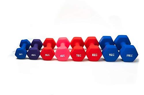 Hampton&Stewart Dumbbell Weights 3KG-10KG For Home/Gym Neoprene Ergonomic Fitness Workout (Blue, 7KG)
