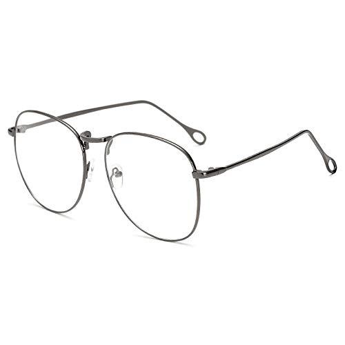 hqpaper Espejo plano de metal retro marco grande gafas retro delgadas marco-negro_Luz plana