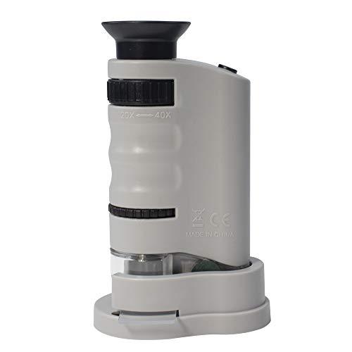MarsGeek Pocket Microscope 20x-40x LED Lighted for Learning, Exploring