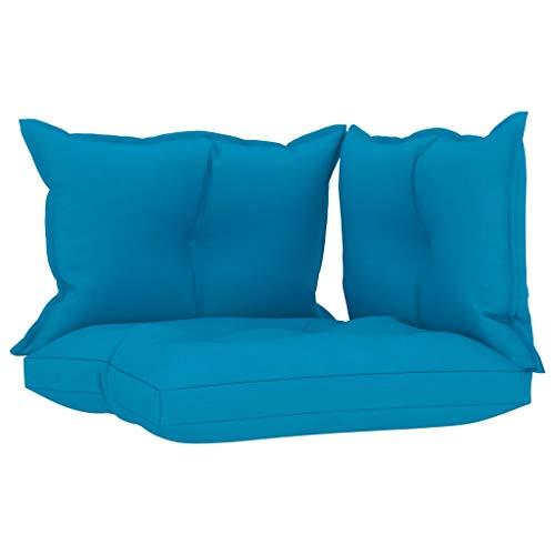 vidaXL Cojines para Sofá de Palets 3 Piezas Asiento Silla Respaldo Jardín Patio Balcón Terraza Exterior Suave Cómodo Decoración Tela Azul