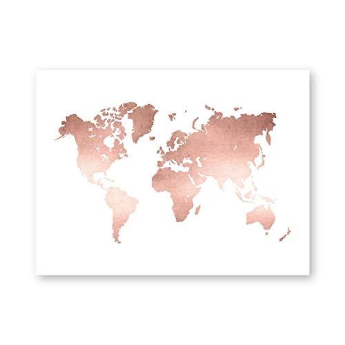 Impresión de Mapa del Mundo en Oro Rosa Decoración de Oficina Minimalismo Moderno Mapa del Mundo Póster Pintura en Lienzo para Sala de Estar Imagen de Arte de Pared para el hogar Sin marco-40X50cm
