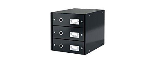 Leitz Cassettiera, 3 cassetti, Formato A4, Gamma Click & Store, 28.6 x 28.2 x 35.8 cm, 60480095 - Nero