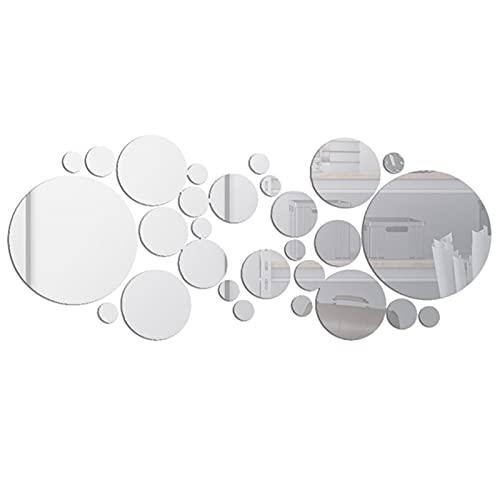 Khaco 30 peças decalques de parede em espelho adesivos de parede em círculo redondo removível espelho decorativo de acrílico faça você mesmo decorações para casa para quarto banheiro sala