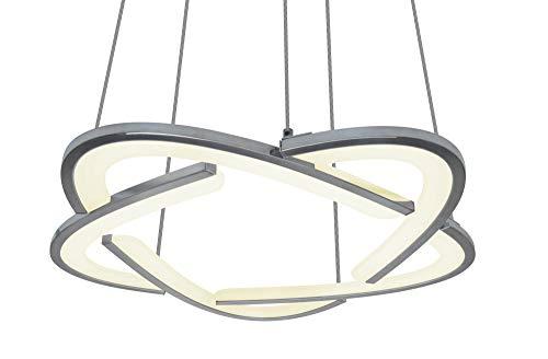 Universe LED : suspension exceptionnelle Flora : en aluminium chromé avec couvercle en plastique opale pour une lumière blanche et chaude homogène, 19 W, réglable en hauteur.