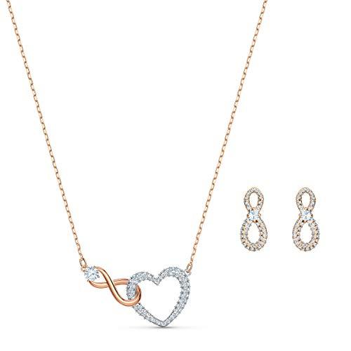 Swarovski Infinity Heart Set, Elegante Halskette und Ohrringe im Metallmix mit Funkelndem Kristallpavé und Swarovski Kristallen