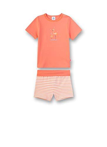 Sanetta Baby-Mädchen kurzer Pyjama Zweiteiliger Schlafanzug, Orange (Peachy 2427), 74 (Herstellergröße: 074)