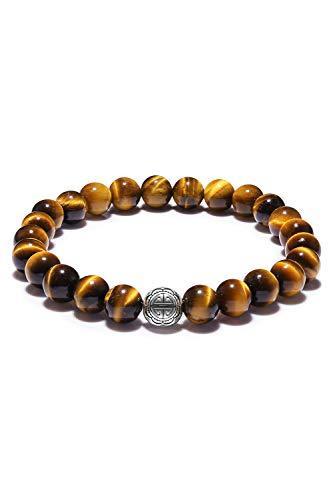 Cat Eye Jewels Mens Womens Beaded Bracelets Good Luck Natural Tiger Eye Energy Healing Stone Mala Beads Bracelet for Men Women Girls DHB-009
