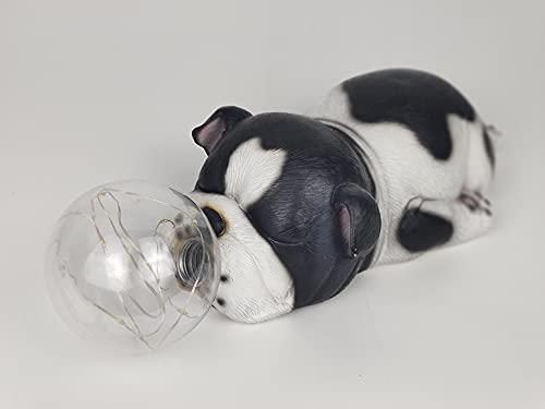 French Bulldog Garden Statues Solar Powered Lantern - Sleeping French Bulldog Figurine Indoor Outdoor Autumn Decorations Patio,Lawn ,Yard Art Decor , Housewarming Black and White Polyresin
