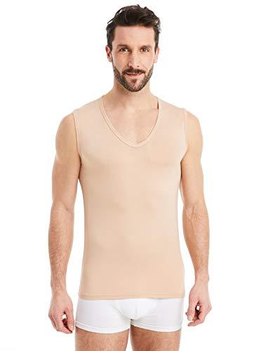 FINN Camisetas Hombre Sin Mangas Cuello Pico - Ropa Interior Microfibra Invisible Color Piel Nude M