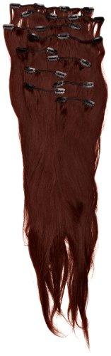 Love Hair Extensions - LHE/K1/QFC/120G/10PCS/18/33 - Thermofibre™ Lisses et Soyeux - 10 Pièces Clippants en Extensions - Couleur 33 - Cuivre Riche - 46 cm