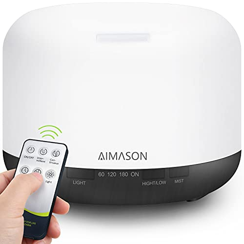 Essential Oil Diffuser 500ML, AIMASON Remote Control BPA-Free Ultrasonic Aroma Air Freshener...