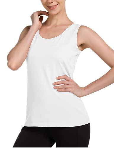 BALEAF Women's Wide Strap Cotton Yoga Tank Tops Workout Full Coverage Crewneck Sleeveless T-Shirts White Medium