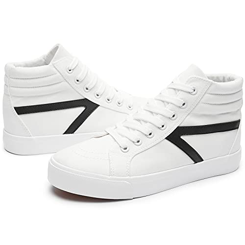 FRACORA Women's High Top Canvas Shoes White Fashion Sneakers Casual Shoes Non Slip Shoes for Women(White.US8)