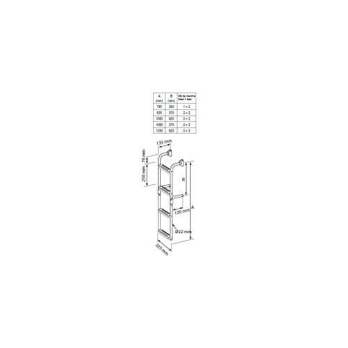 Nuova Rade Edelstahl Badeleiter mit 3 bis 6 Stufen einklappbar, Stufen:3 + 3