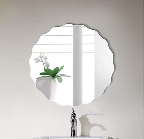AXCJJ Spiegel, Runder Gewellter Seitenspiegel, Kosmetikspiegel, Badspiegel, Wandspiegel, Waschbeckenspiegel,A,50 cm