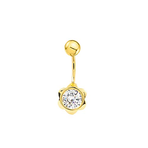 Piercing pour nombril fleur zircon 7 mm or jaune 9 carats