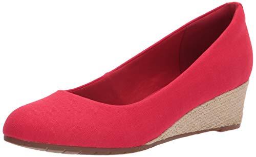 Clarks Mallory Luna Closed Wedge, Plate-Forme Femme, Textile Rouge, 39.5 EU
