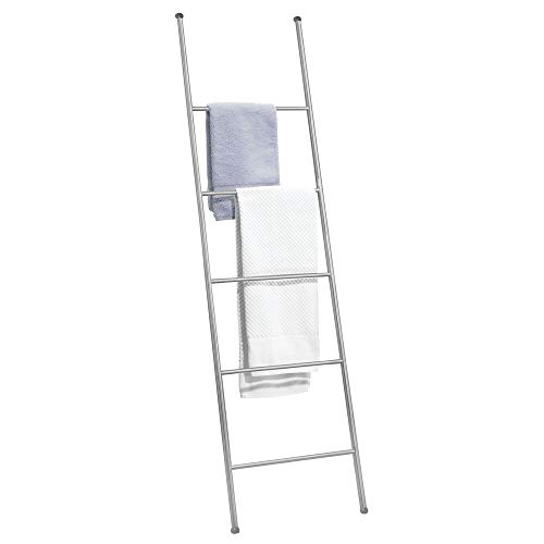 mDesign Metal Free Standing Bath Towel Ladder Storage Organization, Rack for Bathroom, Bedroom, Laundry Room - Chrome